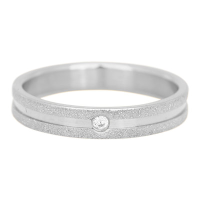 iXXXi Ring 4mm Edelstaal Sandblasted Zilverkleurig Zirkonia Crystal