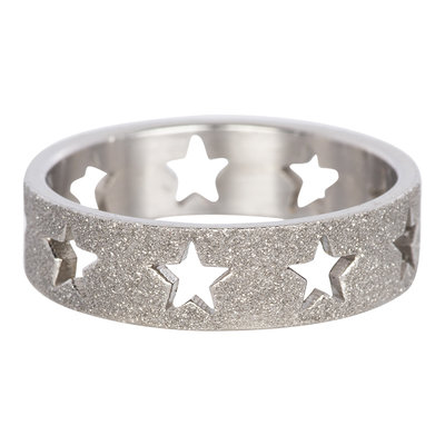 iXXXi Ring 6mm Zilver Open Stars Sandblasted
