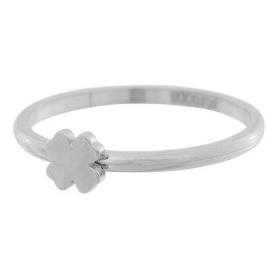 iXXXi Ring 2mm Edelstaal Zilver Klavertje 4