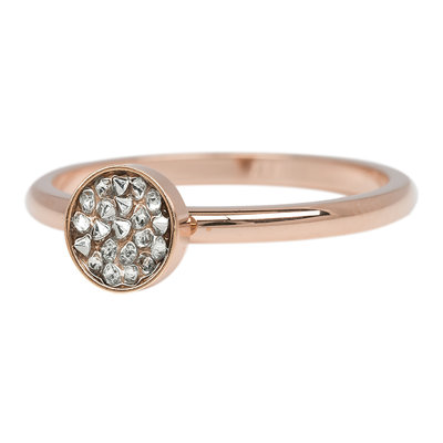 iXXXi Ring 2mm Edelstaal Cup Stones Rose Goud