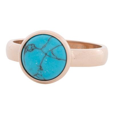 iXXXi Ring 4mm Edelstaal Rose Goudkleurig 12mm Turquoise