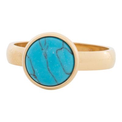 iXXXi Ring 4mm Edelstaal Goudkleurig 12mm Turquoise
