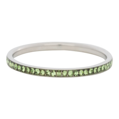 iXXXi Ring 2mm Stainless Steel  Small Zilver Zirkonia Peridot
