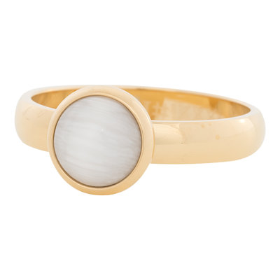 iXXXi Ring 4mm Edelstaal Goud 10mm Cateye White