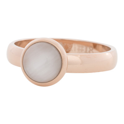 iXXXi Ring 4mm Edelstaal Rose Goud 10mm Cateye White