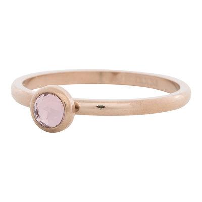 iXXXi Ring 2mm Edelstaal Rose Goud Natuursteen Pink