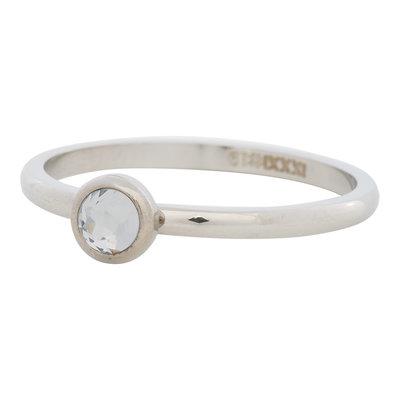 iXXXi Ring 2mm Edelstaal Zilver Natuursteen White