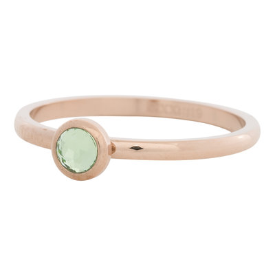 iXXXi Ring 2mm Edelstaal Rose oud Natuursteen Light Green