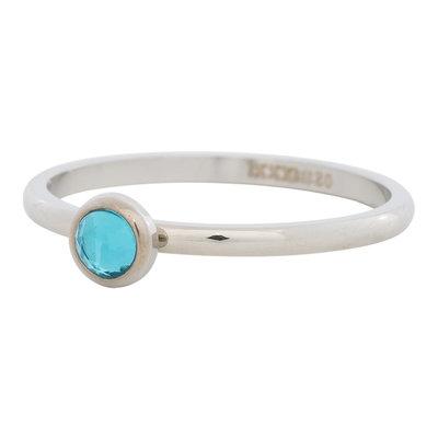 iXXXi Ring 2mm Edelstaal Zilver Natuursteen Water Blue