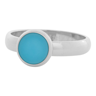 iXXXi Ring 4mm Edelstaal Zilver 10mm Cateye Aqua