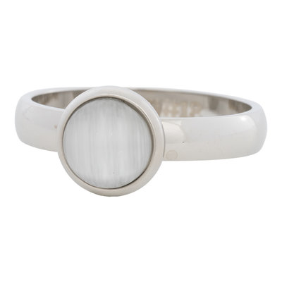 iXXXi Ring 4mm Edelstaal Zilver 10mm Cateye White