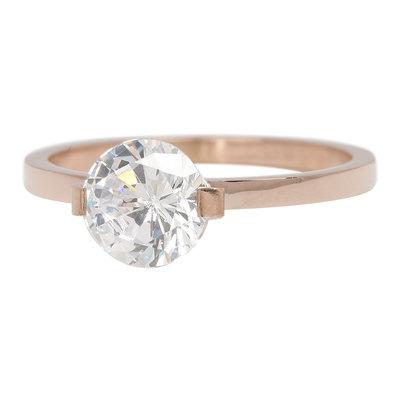 iXXXi Ring 2mm Edelstaal Rose Goudkleurig Glamour Stone Crystal