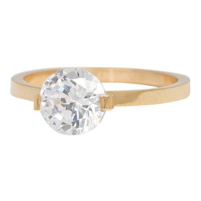 iXXXi Ring 2mm Edelstaal Goudkleurig Glamour Stone Crystal