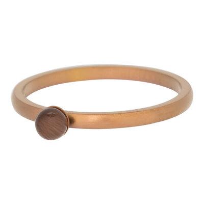 iXXXi Ring 2mm Edelstaal Mat Bruin Cateye Bal 3mm