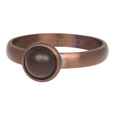 iXXXi Ring 4mm Edelstaal Mat Bruin 10mm Cateye Brown Stone