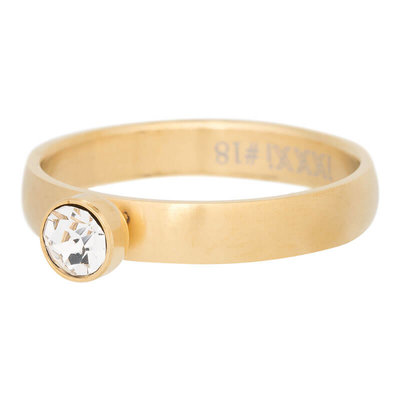 iXXXi Ring 4mm Edelstaal Mat Goud Diamant Zirkonia Crystal