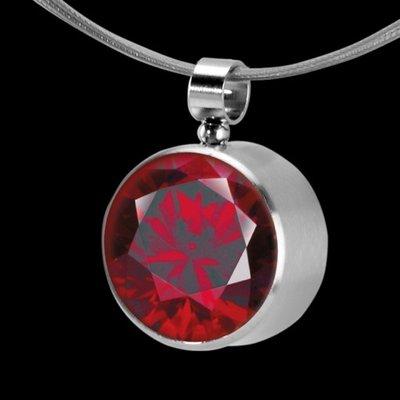 MelanO Stainless Steel Zirkonia Hanger & Oog Dark Red