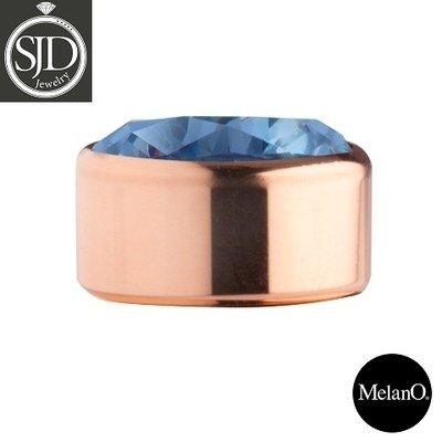 MelanO Stainless Steel Setting Rose Gold Zirkonia Blue