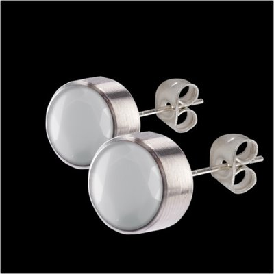 MelanO Stainless Steel Oorknoppen Zirkonia White