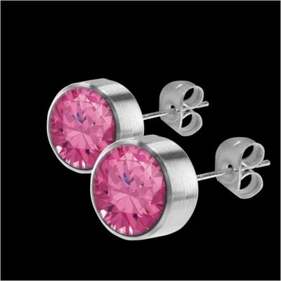 MelanO Stainless Steel Oorknoppen Zirkonia Pink