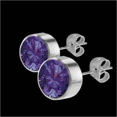MelanO Stainless Steel Oorknoppen Zirkonia Purple