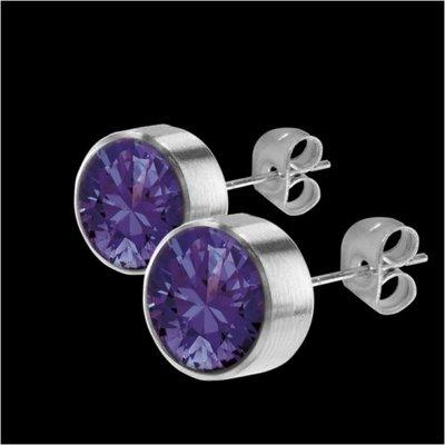 MelanO Stainless Steel Oorknoppen Zirkonia Lavendel
