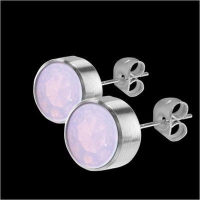 MelanO Stainless Steel Oorknoppen Zirkonia Milk Pink