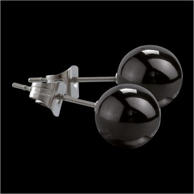 MelanO Stainless Steel Oorknoppen Ball Black