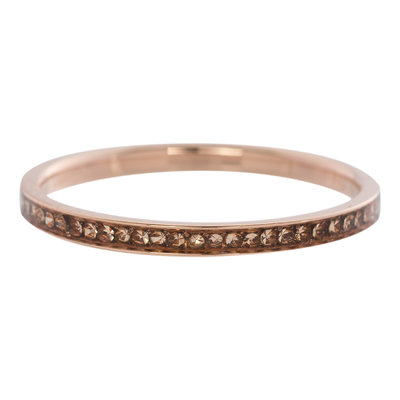 iXXXi Ring 2mm Edelstaal Rose Goud Zirkonia Champagne