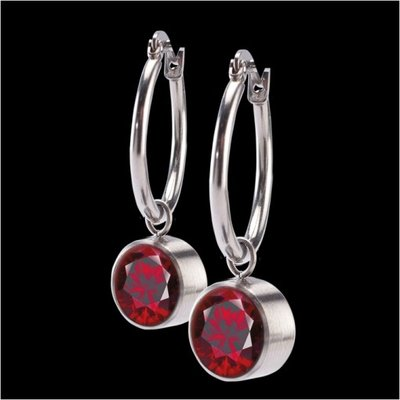 MelanO Stainless Steel accessoire 8mm Zirkonia Dark Red Oorringen