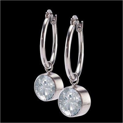 Melano Stainless Steel accessoire 8mm Zirkonia Crystal Oorringen