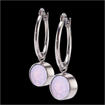 Melano Stainless Steel accessoire 8mm Zirkonia Milk Pink Oorringen