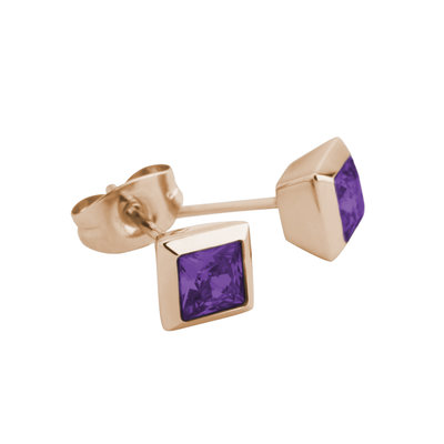Melano Square Earstuds Liza Stainless Steel Rose Gold-coloured Zirkonia Purple