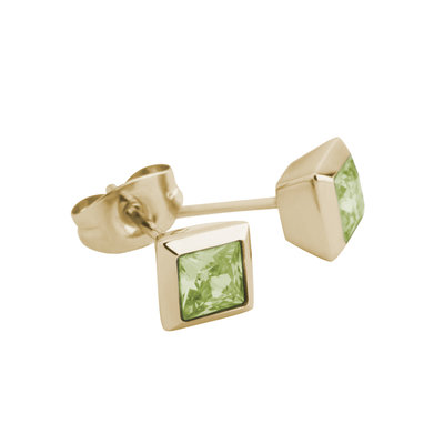 Melano Square Earstuds Liza Stainless Steel Gold-coloured Zirkonia Lime