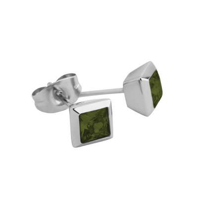 Melano Square Earstuds Liza Stainless Steel Silver-coloured Zirkonia Olive