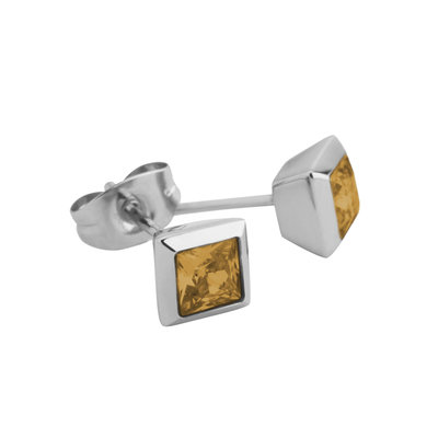 Melano Square Earstuds Liza Stainless Steel Silver-coloured Zirkonia Ochre