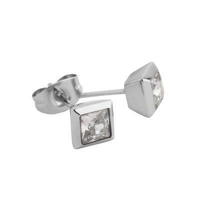 MelanO Square Oorstekers Liza Edelstaal Zilver Zirkonia Crystal