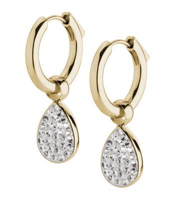 Melano Emma Oorbelhangers Edelstaal Goudkleurig Zirkonia Crystal incl Creolen.