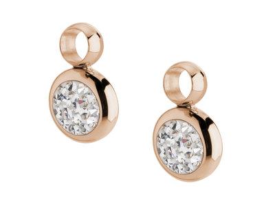 Melano Gina Oorbelhangers Edelstaal Rose Goudkleurig Zirkonia Crystal