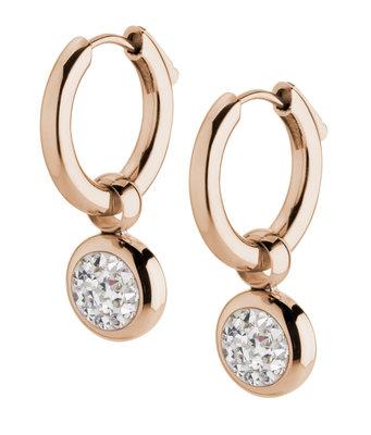 Melano Gina Oorbelhangers Edelstaal Rose Goudkleurig Zirkonia Crystal incl Creolen.