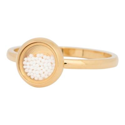 iXXXi Ring 2mm Edelstaal Goudkleurig White Balls