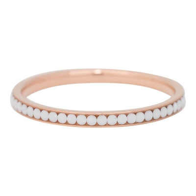 iXXXi Ring 2mm Edelstaal Rose Goud White Stone