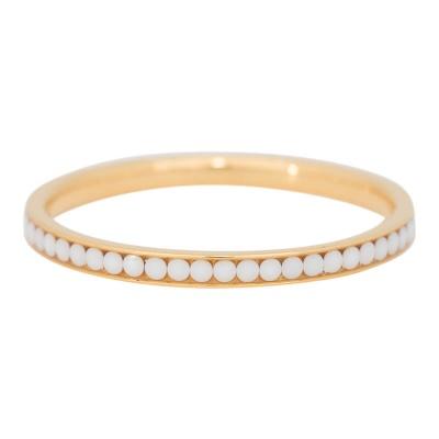 iXXXi Ring 2mm Edelstaal Goudkleurig White Stone