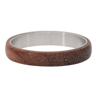 iXXXi Ring 4mm Edelstaal Zilver Wood Dark Brown