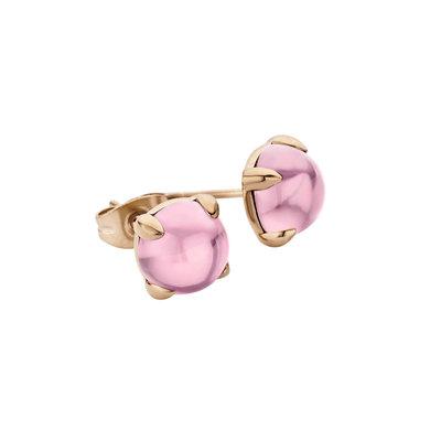 Melano Friends Oorstekers Adele Edelstaal Rose Goudkleurig 8mm Zirkonia Pink