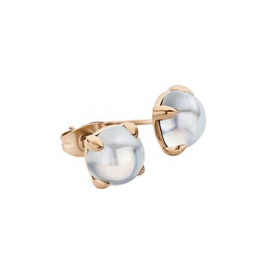 Melano Friends Oorstekers Adele Edelstaal Rose Goudkleurig 8mm Zirkonia Moonstone