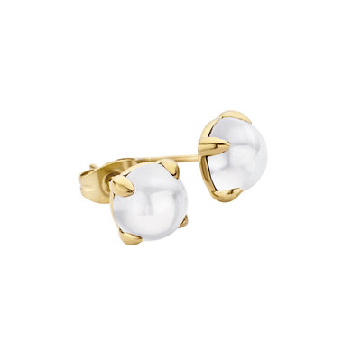 MelanO Friends Oorstekers  Adele Edelstaal Goud 8mm Zirkonia White