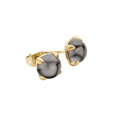 Melano Friends Oorstekers Adele Edelstaal Goudkleurig 8mm Zirkonia Transparent Black