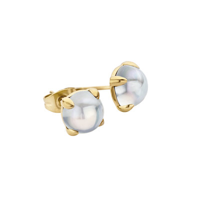 MelanO Friends Oorstekers Adele Edelstaal Goud 8mm Zirkonia Moonstone
