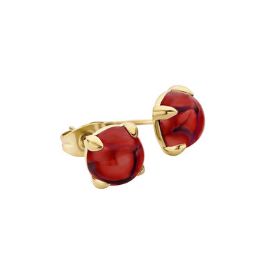 Melano Friends Oorstekers Edelstaal Goudkleurig 8mm Zirkonia Dark Red